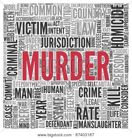 Close up Red MURDER Text at the Center of Word Tag Cloud on White Background.
