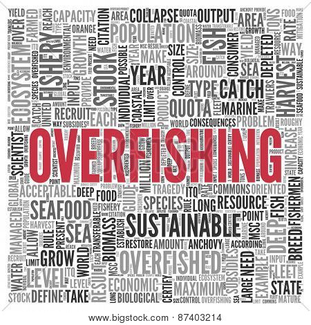 Close up Red OVERFISHING Text at the Center of Word Tag Cloud on White Background.