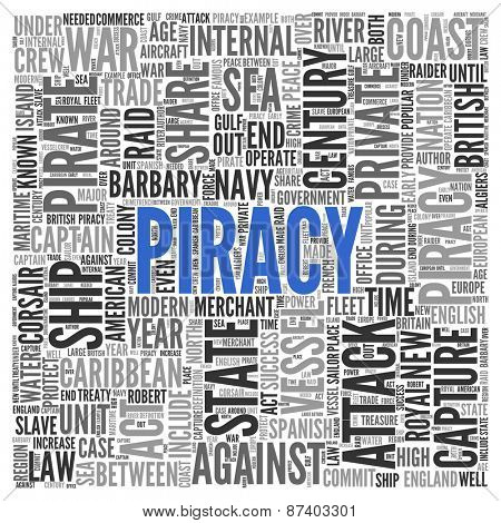 Close up Blue PIRACY Text at the Center of Word Tag Cloud on White Background.