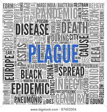 Close up Blue PLAGUE Text at the Center of Word Tag Cloud on White Background.