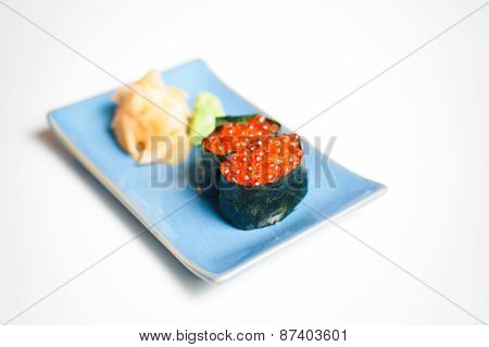 Gunkan, Sushi On Blue Plate With Ginger And Wasabi
