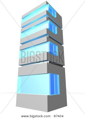 Server Tower With Blue Button Glass