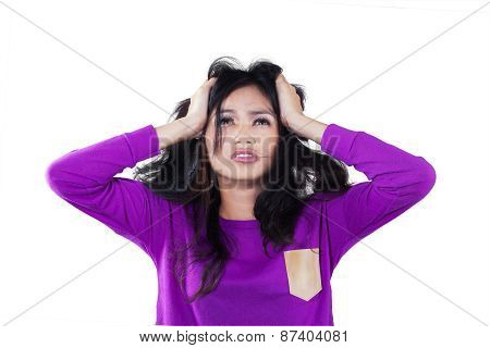 Frustrated Girl Holding Her Head