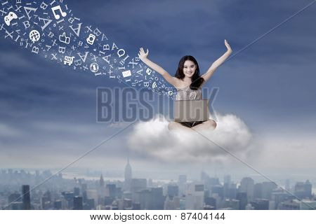Girl Sending Message With Laptop On Cloud
