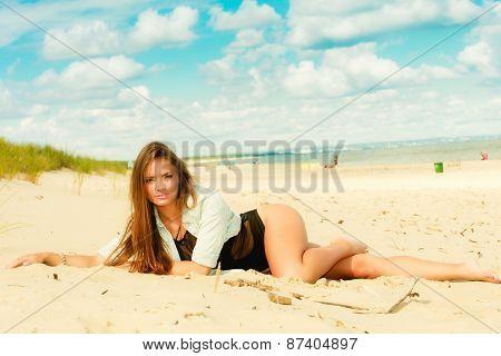 Long Haired Girl On Beach, Summertime