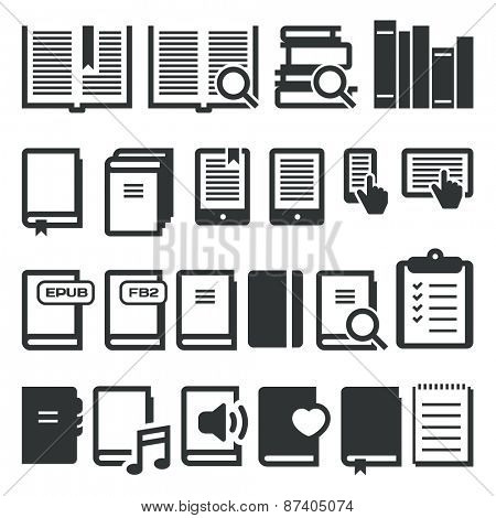 Book icons, e-book, reading on different devices