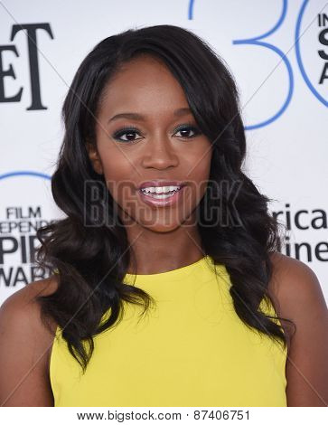 LOS ANGELES - FEB 21:  Aja Naomi King arrives to the 2015 Film Independent Spirit Awards  on February 21, 2015 in Santa Monica, CA