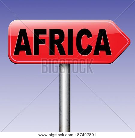 Africa continent tourism vacation and travel destination sign