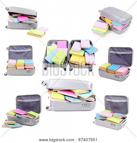 Different compositions with colorful books in suitcase isolated on white in collage