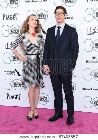LOS ANGELES - FEB 21:  Andy Samberg & Joanna Newsom arrives to the 2015 Film Independent Spirit Awards  on February 21, 2015 in Santa Monica, CA