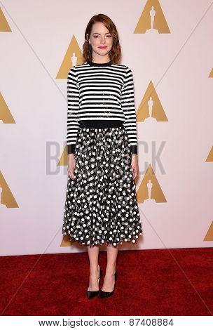 LOS ANGELES - FEB 02:  Emma Stone arrives to the Oscar Nominee Reception  on February 2, 2015 in Beverly Hills, CA