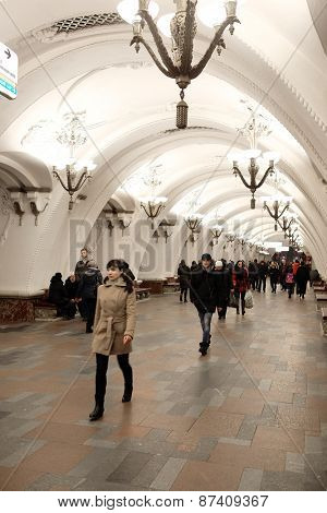Moscow, Russia, March, 31, 2015: Interior of metro station
