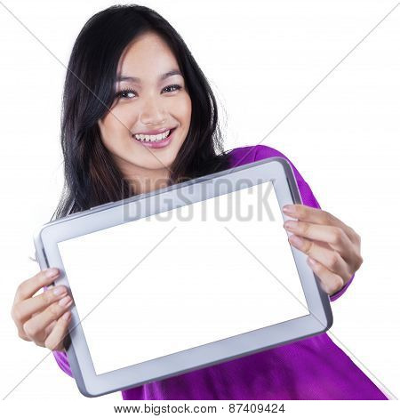Young Girl Showing Empty Tablet Screen
