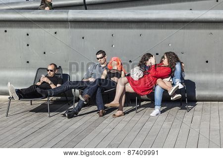 People Relax At Museum Of European And Mediterranean Civilizations