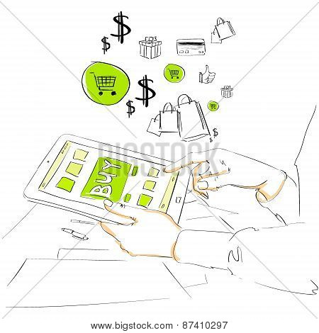 sketch tablet computer buy button touch finger on line store