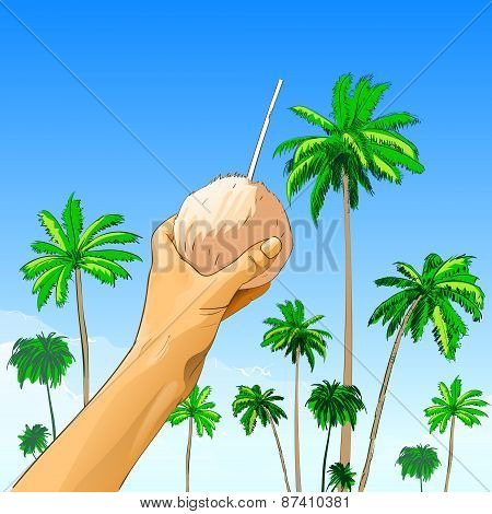 touris hand hold coconut with straw over palm tree
