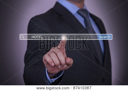 Business pressing Hotel Search button