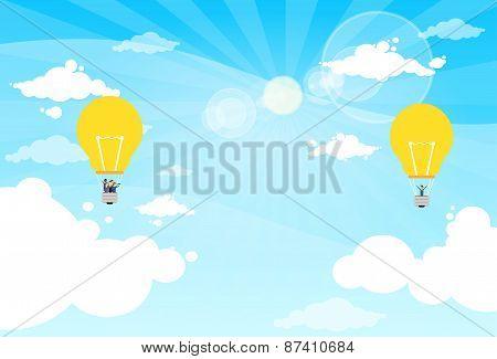 Business People Group Fly Air Balloon Light Bulb Idea