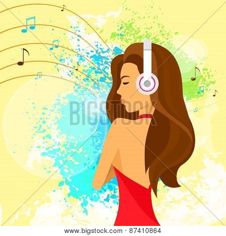 woman headphones listen to music, red dress over paint splash background