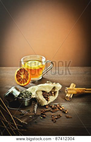 aromatic spices and decoration for tea