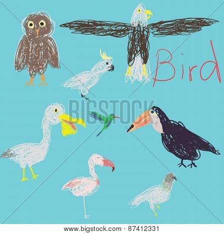Free Hand Drawing Bird.