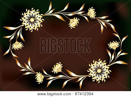 Frame with flowers in the shape of an ellipse