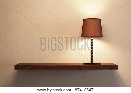 turn on table lamp on the empty shelf, 3D rendering