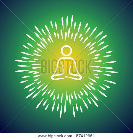Meditation Symbol Vector Icon & Sunburst Like Rays Emerging From The Person Sitting In Silence For I