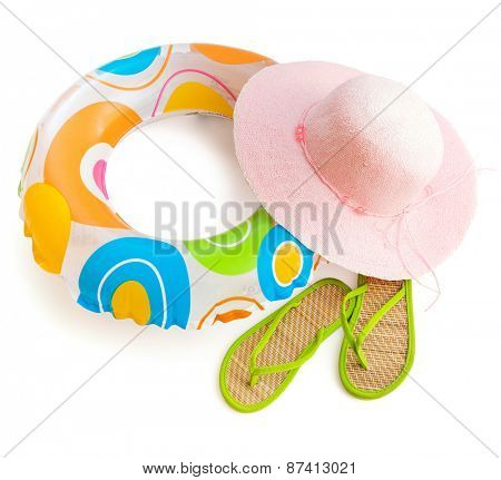 beach accessories isolated on white background