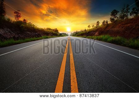 Beautiful Sun Rising Sky With Asphalt Highways Road In Rural Scene Use Land Transport And Traveling