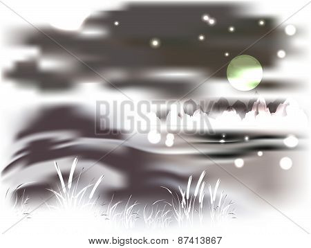 Mountains and lake on a moonlit night