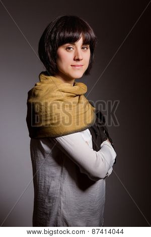 fashion young woman on a grey background
