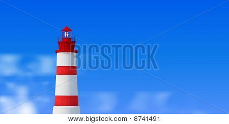 Lighthouse over blue sky