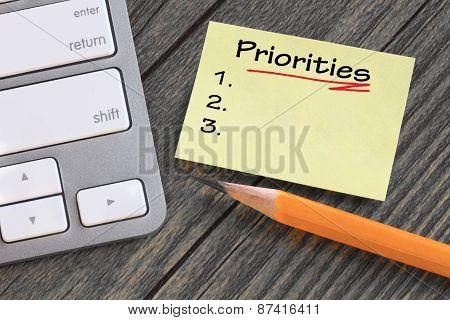 set priorities note