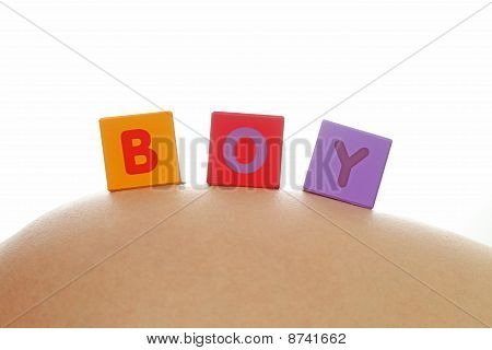 Boy Written With Alphabet Cubes
