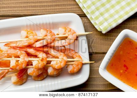 grilled prawns on a plate