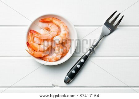 prawns in bowl on table