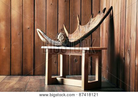 Moose antler on stool on wooden background