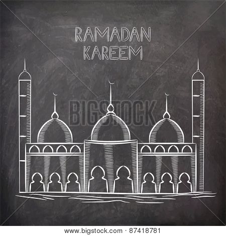 Illustration of a mosque on black chalk board, concept for Islamic holy month of prayers, Ramadan Kareem celebrations.