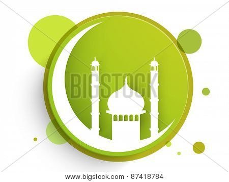 Sticker, tag or label with islamic mosque on moon for holy month of muslim community, Ramadan Kareem celebration.