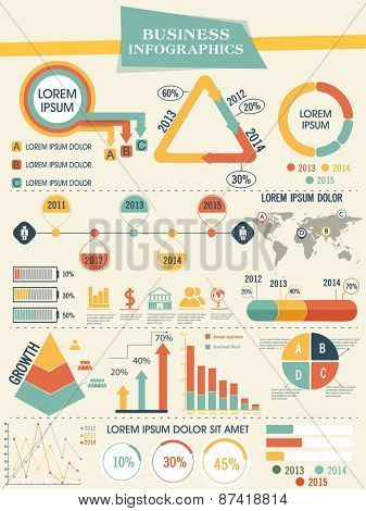 Colorful infographics elements set including growth pie chart, graphs and arrows for professional presentation.