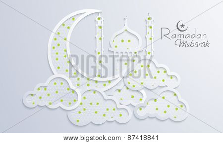 Holy month of muslim community, Ramadan Kareem celebration with creative illustration of islamic mosque, moon and clouds on shiny background.