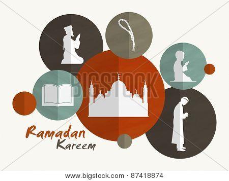 Holy month of muslim community, Ramadan Kareem celebration sticker, tag or label with islamic elements.