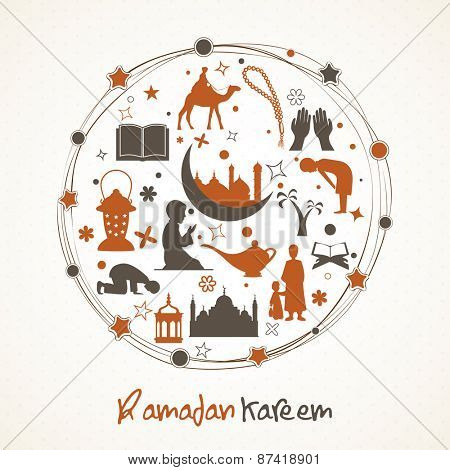 Holy month of muslim community, Ramadan Kareem celebration islamic elements and people to follow their rituals in a rounded frame.