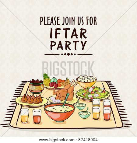 Islamic holy month of prayers, Ramadan Kareem celebrations with invitation card design for Iftar Party,