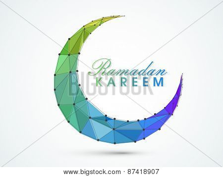 Holy month of muslim community, Ramadan Kareem celebration with creative moon.