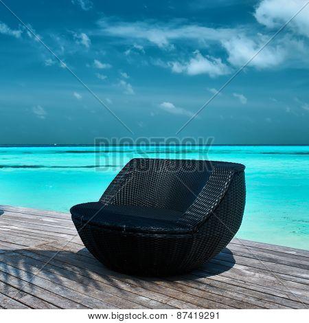 Tropical beach jetty at Maldives