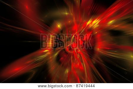 Abstract background reminiscent of red magnetic fields.Fractal art graphics