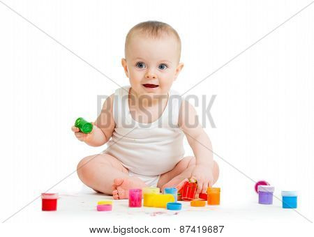 Baby Paint By His Hands - On White Background