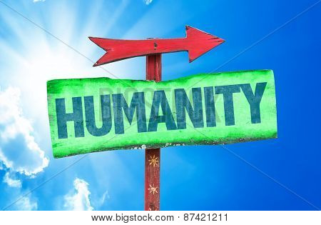 Humanity sign with sky background